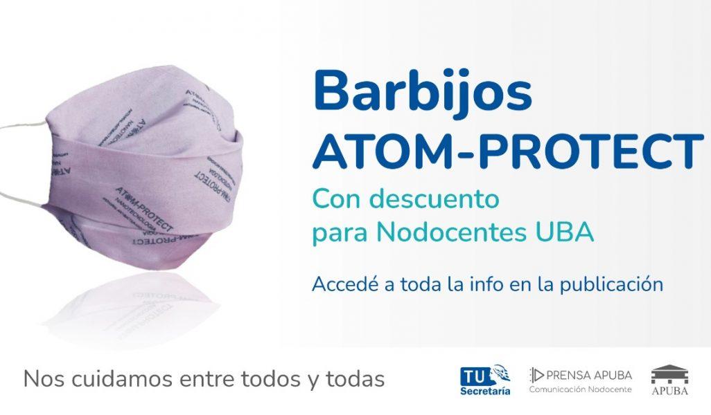 Barbijos ATOM- PROTECT con descuento para Nodocentes UBA